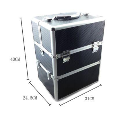 Műkörmös bőrönd, lecsatolható alsó résszel  Fekete