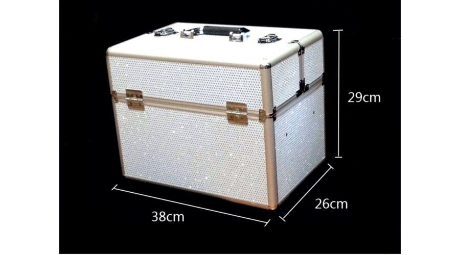 Műkörmös táska - Kozmetikai bőrönd fehér csillámos - Műkörmös táskák ... cbd46abff4